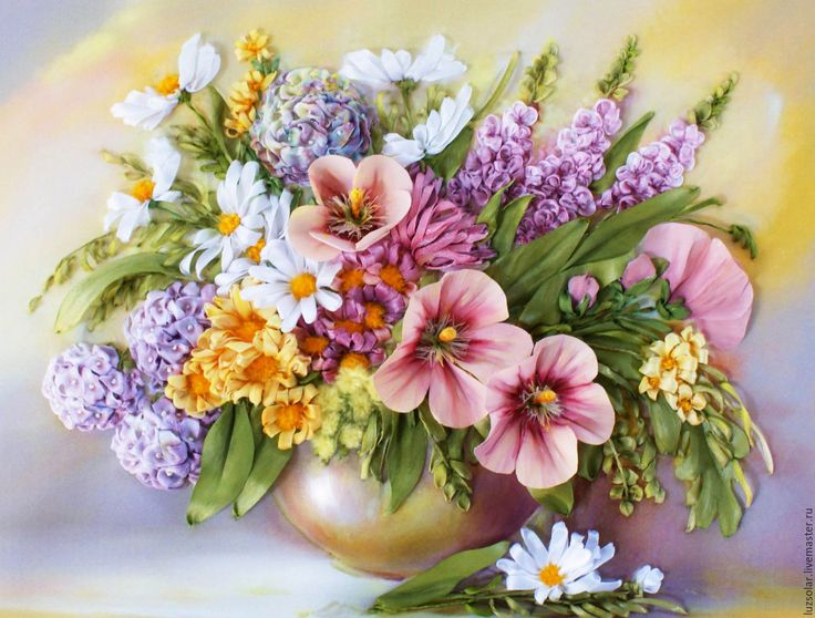 Купить Картина вышитая лентами Букет с мальвами - розовый, мальва, букет с мальвами, гортензия, ромашки