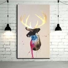 Handgeschilderde Herten Schilderijen Muurschildering Foto op Canvas Abstract Decor Dieren Moderne Paard Olieverf Hang Pictures(China (Mainland))