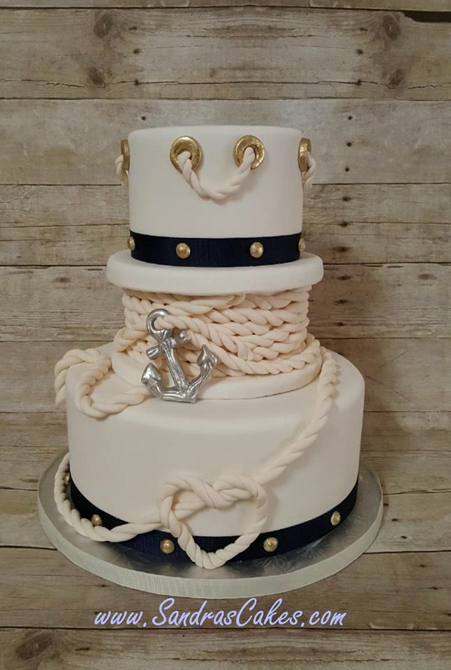 Sandra's Cakes - nautical cake. Amazing gum paste work to do the anchor rope.