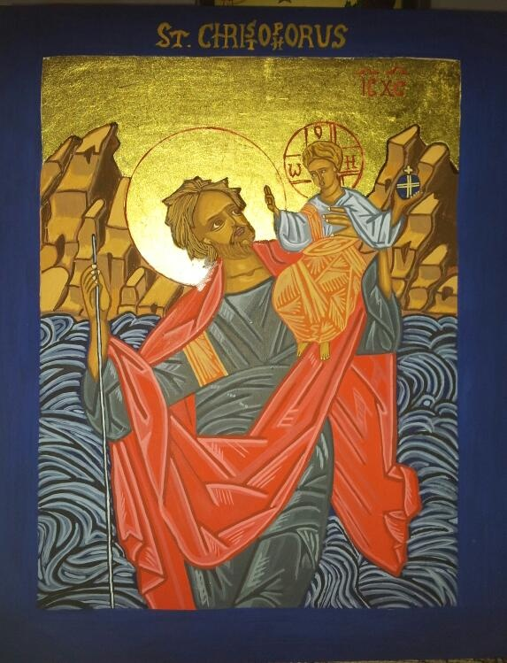 St Christopher. One of my handwritten icons, made on wood with egg tempera and genuine gold leaf. This one is for sale.