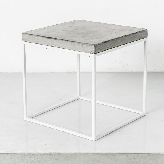 White Iron Table Part - 26: Concrete Topped And White Powder Coated Steel Based Cube Side Table / End  Table/ Stool / Coffee Table
