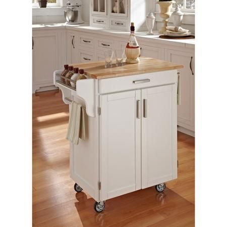 Home Styles Cuisine Kitchen Cart, White with Wood Top