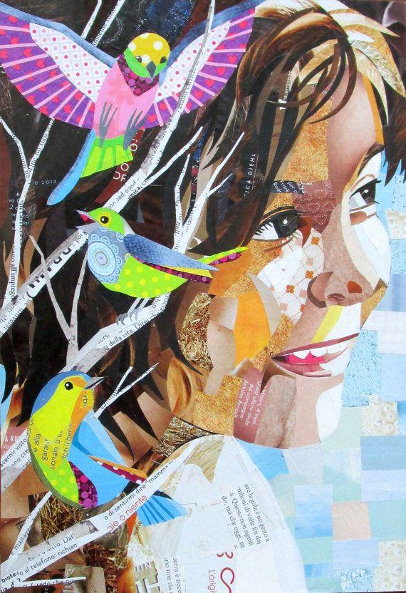 Un regalo originale e bellissimo, fatto a mano, che resta per sempre: un ritratto fatto a collage di carta di giornale, su cartoncino o tela. Visita lo shop su etsy.com danielapapercollages