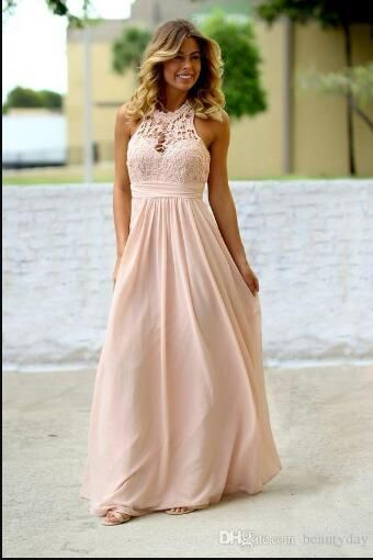 Lace Chiffon Bridesmaid Dresses 2018 Country Style Beach