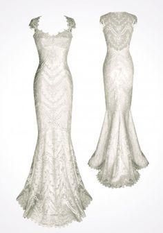 Mangas cap Vestidos de novia sirena ♥ Volver encaje blanco vestido de novia