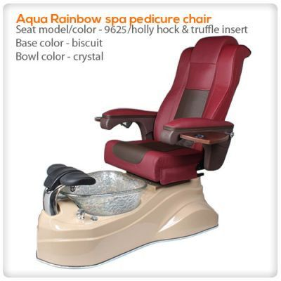 Aqua Rainbow spa pedicure chair Aqua Rainbow spa pedicure chair is elegance, sleek, and unique in design. These pedicure chairs unit incorporate a massage system similar to techniques used by chiropra