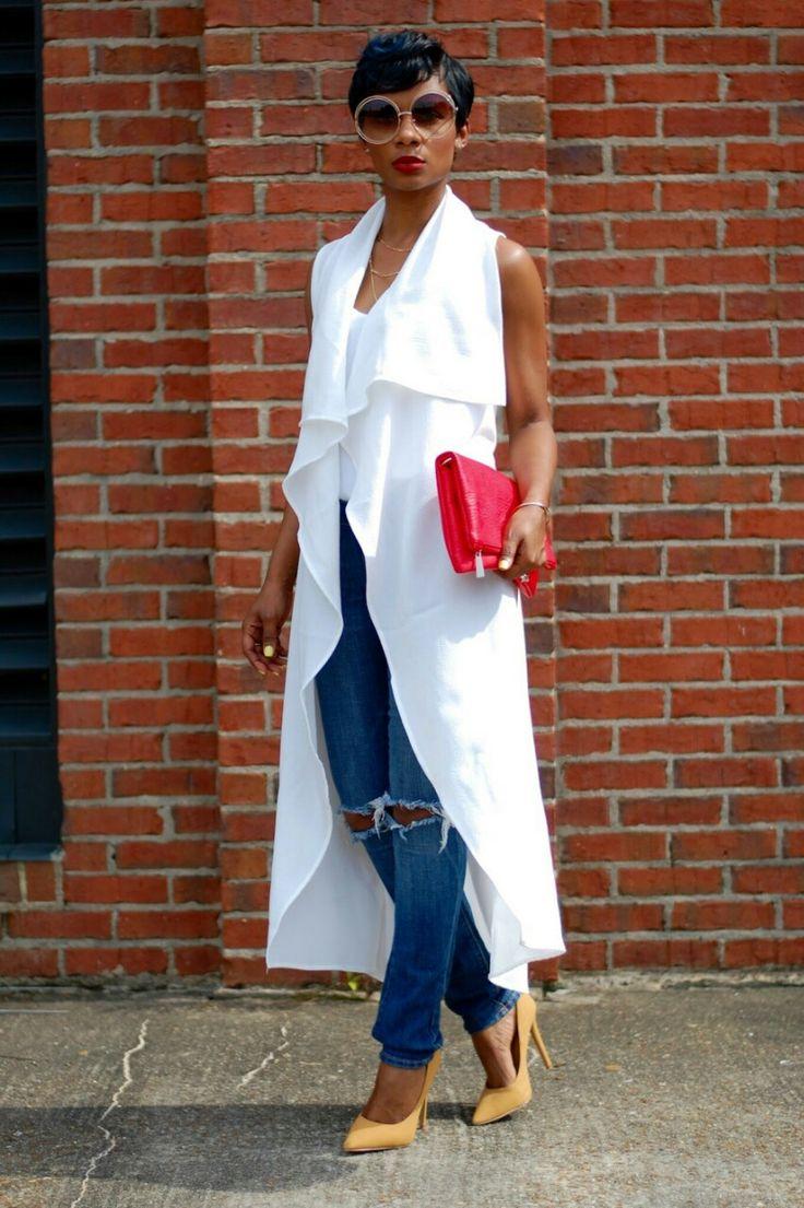 Ecstasy Models • Drama Long Vest | DIY Jeans | Express Cami |...