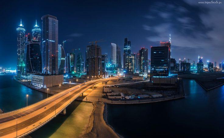 Dubaj, Noc, Drapacze, Chmur, Droga
