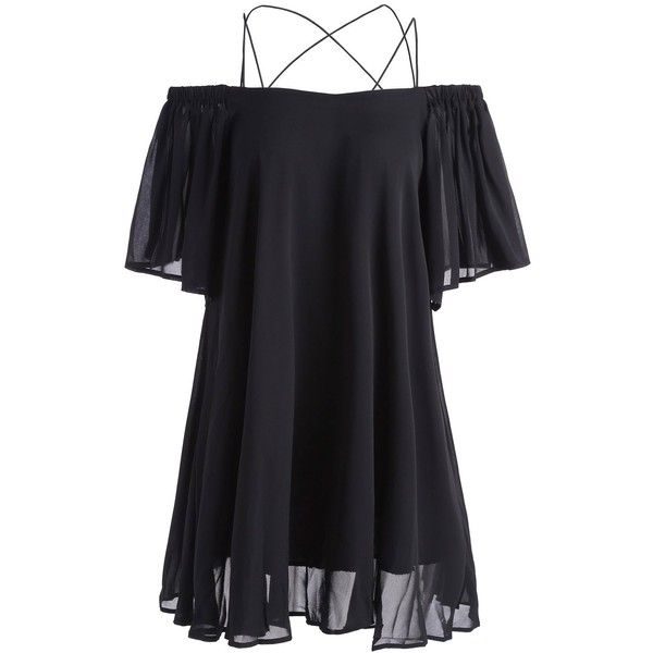 Mini Spaghetti Strap Chiffon Dress ($16) ❤ liked on Polyvore featuring dresses, tops, chiffon cocktail dress, spaghetti strap dress, mini dress, spaghetti strap mini dress and chiffon dresses