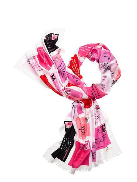 Kate Spade New York Valentine Pink Love Letters, Scarf Pink