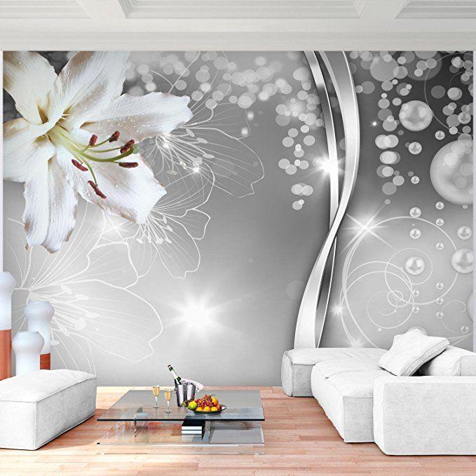 Fototapete Blumen Lilien Schwarz Weiss 352 X 250 Cm Vlies Wand
