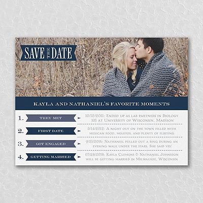 What's the story of your love? Share it in a list of your favorite moments on this #photo  #savethedate #card. #Wedding http://foreverfriendsfinestationeryandfavors.com
