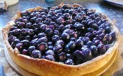 Blauwe bessen op een taart en verder op deze site een heerlijke bosbessen amandeltaart!