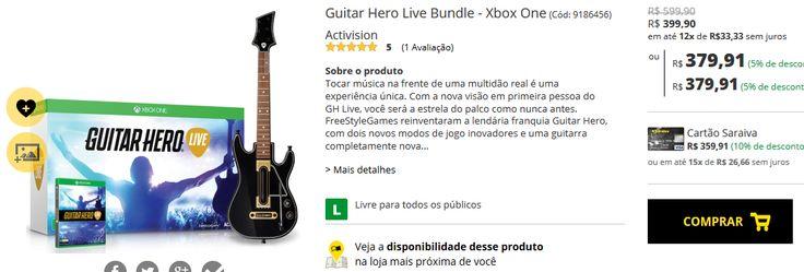 Guitar Hero Live Bundle para Xbox One ou PS4 << R$ 37991 >>