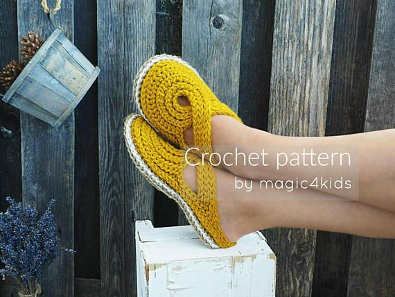 A brand new & original design for CROCHETING women slippers with rope soles!   For fall season Im proposing a new design for women slippers/ clogs. These beautiful slippers have rope soles and a charming upper part, suitable for all women who loves comfort and elegance in the same time. You could make it for yourself or as gifts for your family members or friends. You are welcome to sell your finished items. Please credit me as the pattern's author and include a link to my s...
