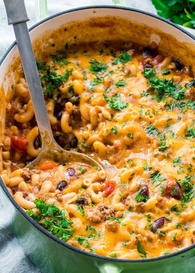 This One Pot Chili Mac and Cheese combines two great comfort foods all in one! Delicious and hearty, quick and comforting, perfect dinner for back to school