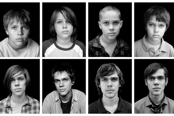 Boyhood, 2014.  This movie was filmed over a period of 12 years.  Interesting to watch unfold