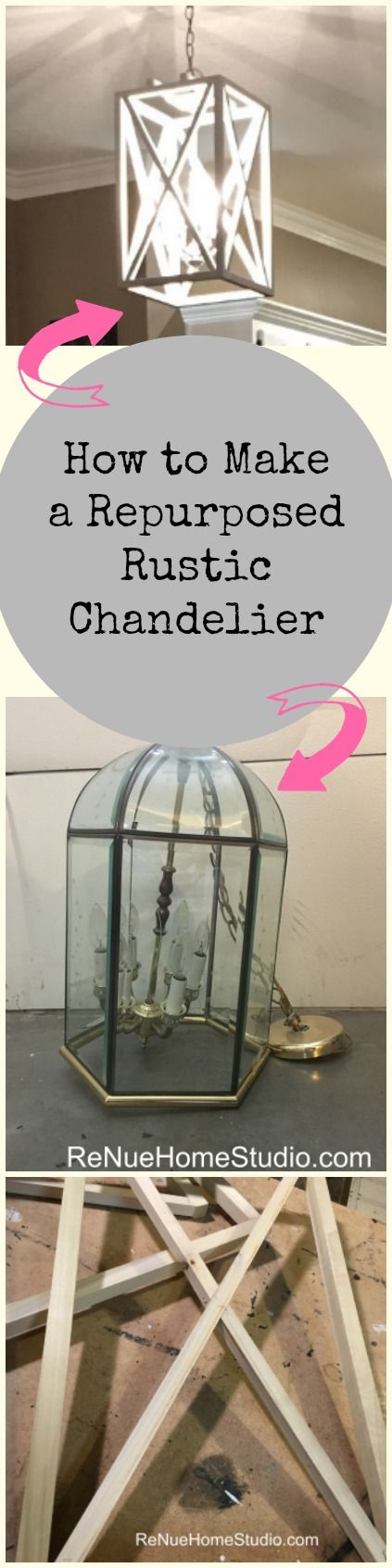 How to Make a Repurposed Rustic Chandelier.  We give you all the details to repurpose an old chandelier or use a pendant light kit to build your own custom made light fixture.  Plug In, Chandeliers, Pendant Light, Lights, Lighting, Kitchen, Entryway, Living Room, Remodeling, Remodel, Fixer Upper, HGTV, Shabby Chic, Modern Rustic, Industrial, Country Living, Southern Living, Loft, Craft, Crafty, Power Tools, Brad Nailer, Ryobi