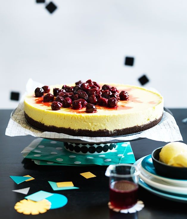 Cherry cheesecake with cherry-pit ice-cream recipe :: Gourmet Traveller