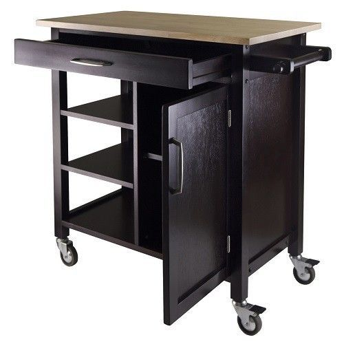 Kitchen Cart Wooden Portable Rolling Utility Storage Cabinet Shelves Butcher Top…