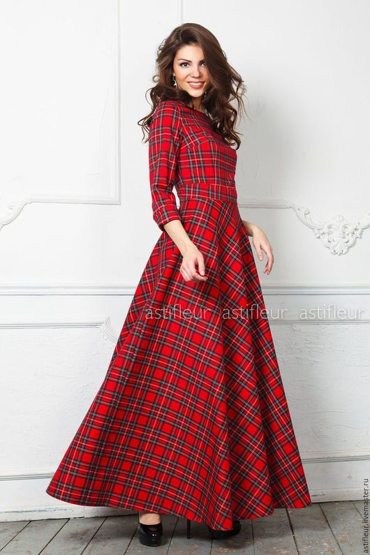 Платья ручной работы. Ярмарка Мастеров - ручная работа. Купить Теплое платье в пол  длинное из красной клетке. Handmade. Платье