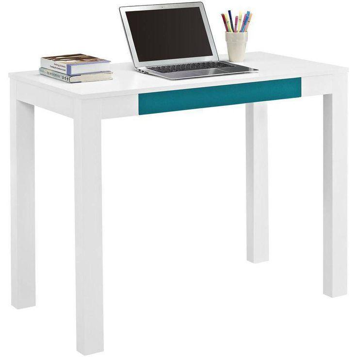 Writing Computer Desk Center Storage Drawer Teal Home Office Study Hallway White #AF #Modern