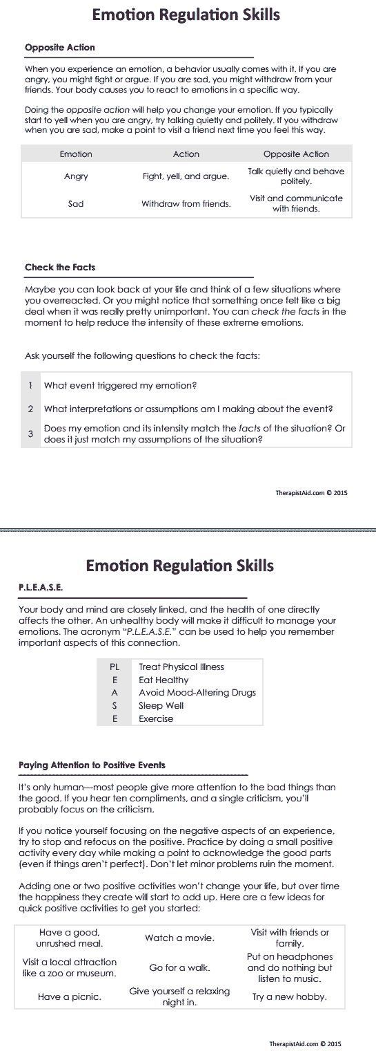 worksheet Life Coaching Worksheets 126 best life coaching images on pinterest self dbt emotion regulation skills preview