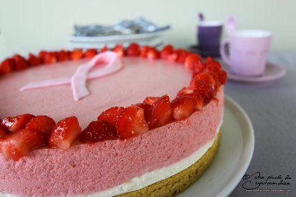 Entremets au chocolat blanc et à la fraise