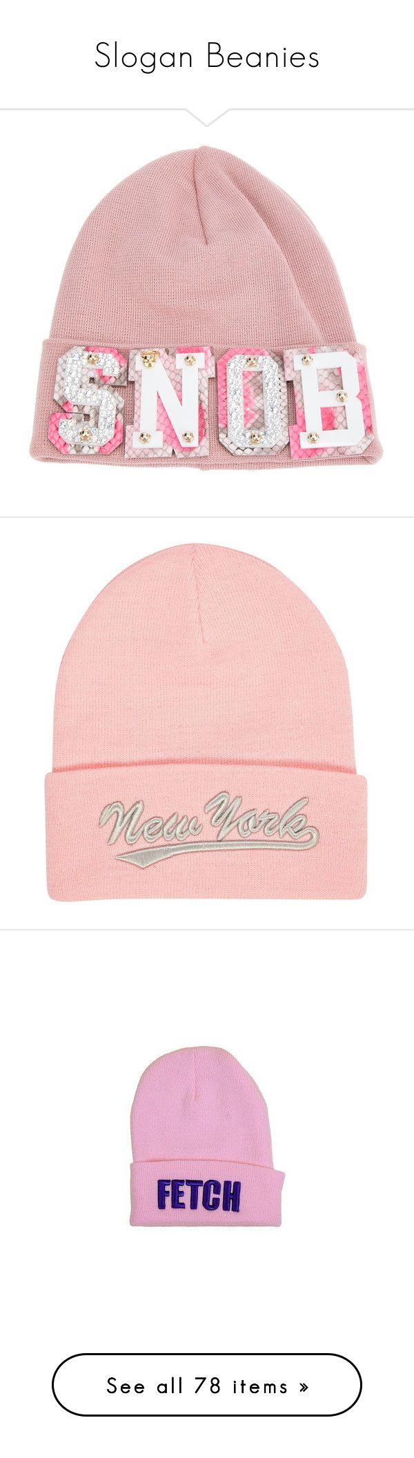 """""""Slogan Beanies"""" by youmaycallmejuju ❤ liked on Polyvore featuring accessories, hats, beanies, head, studded beanie hat, beanie hat, studded hat, pink beanie hat, r.s.v.p and fillers"""