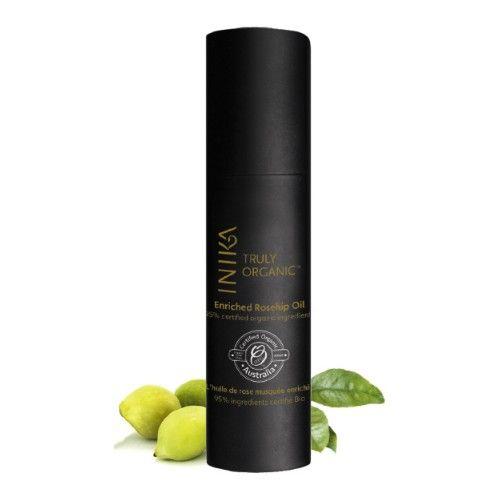 INIKA Makeup Certified Organic Enriched Rosehip Oil. Anti-aging, geschikt voor de droge tot zeer droge hui, met Australische Kakadu Plum, Quandong, Riberry & Crown of Gold.