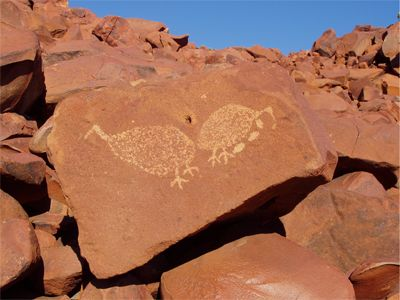 rock engraving ~ There is also some evidence of occupation earlier than the 40,000 BP range. The oldest rock art found in Australia dates from between 45,000 to 65,000 BP. Rock art can take 2 forms: petroglyphs (rock engravings) and pictographs (rock paintings). Rock art can be dated using traditional C14 methods, although optically stimulated luminescence (OSL) and accelerator mass spectrometry (AMS) are also option.