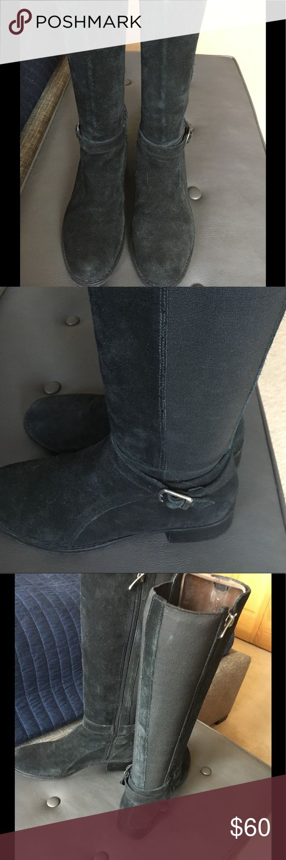 Donald J Pliner flat suede boots Donald J Pliner flat black suede / stretch knee high boots. Worn infrequently. In dry good condition. Great with jeans or skirts. Donald J. Pliner Shoes Heeled Boots