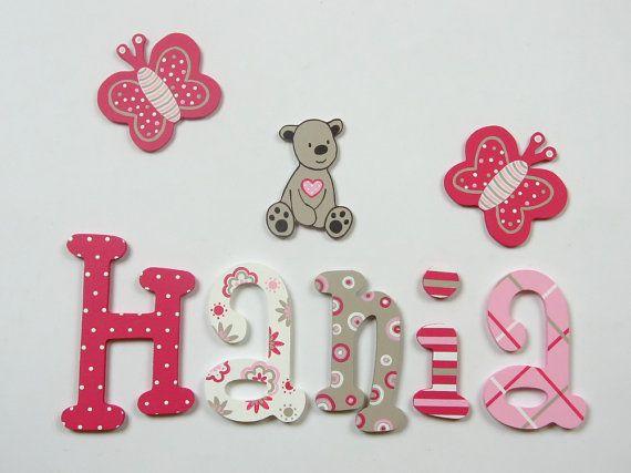 Pintadas con letras de madera colorido; nombre de los niños; nombre de bebé; Letras de pared, Letras de madera; decoración de la habitación de los niños; rayas, cuadros, flores,