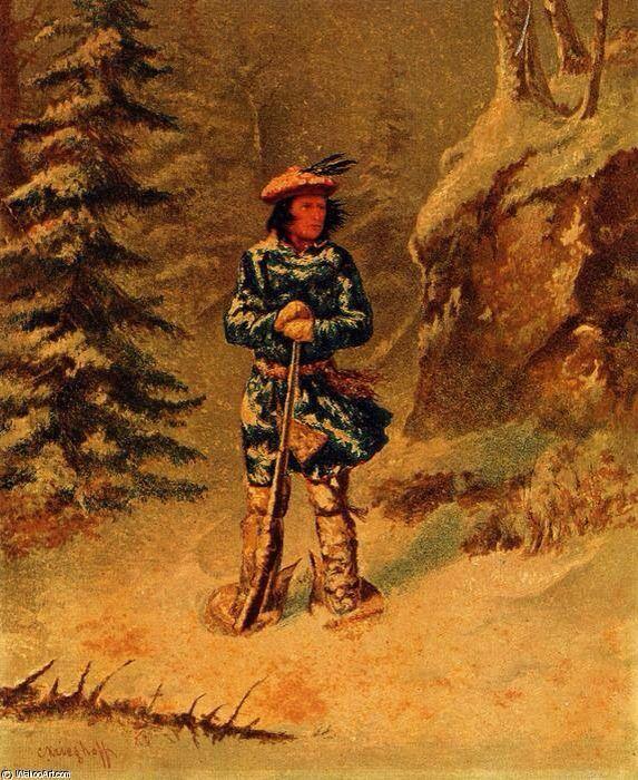 """Souvenirs d'Amerique francaise  """"Dans le doute de la piste"""", Indien Iroquois, Cornelius David Krieghoff (1815-1872)"""