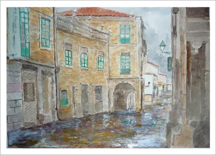Acuarela dela Rúa do Vilar en Santiago de Compostela en la que se aprecia un día de lluvia con muchos reflejos | Rubén de Luis Rubio