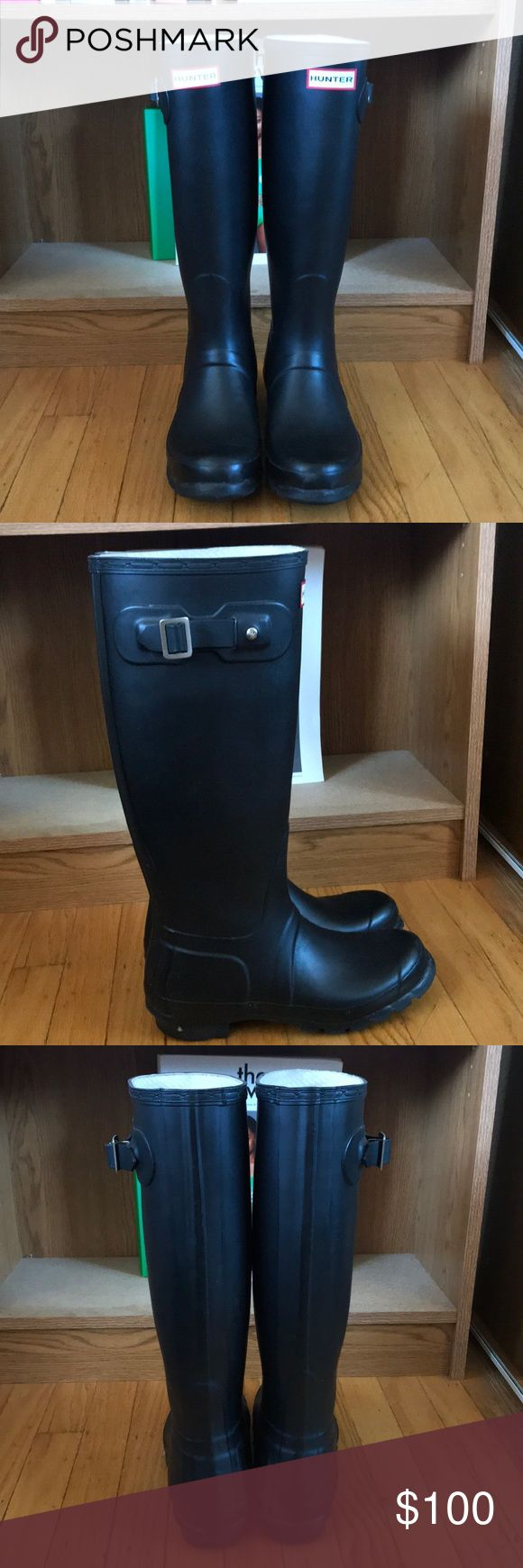 Hunter rain boots. Tall Hunter rain boots. Classic black. Not for wide calves. Women's 7 but bc they run large, can fit US 7-8. Men's US 6.  Small signs of wear throughout the boots but still in great condition. Hunter Boots Shoes Winter & Rain Boots