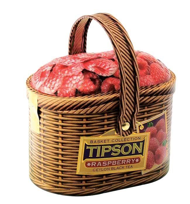 Darčekový čaj TIPSON Basket Raspberry 100 g čierny