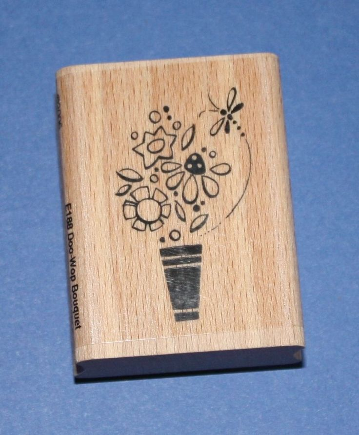 NEW Stampendous  Doo-Wop Bouquet  E188 Wooden Backed Rubber Stamp - SALE