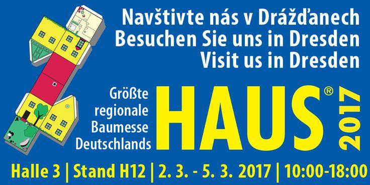 """Přijměte pozvání na stavební veletrh """"Haus 2017"""" do Drážďan, který se koná od 2. do 5. března. Prezentaci našich německých projektů naleznete v Hale 3, stánek H12. www.ctrgroup.cz/     Wir würden uns freuen Sie auf der Baumesse """"Haus 2017"""" in Dresden begrüßen zu dürfen! Diese findet vom 2. bis 5. März statt – Sie finden uns in Halle 3, Stand H12. www.ctrgroup.cz/de"""