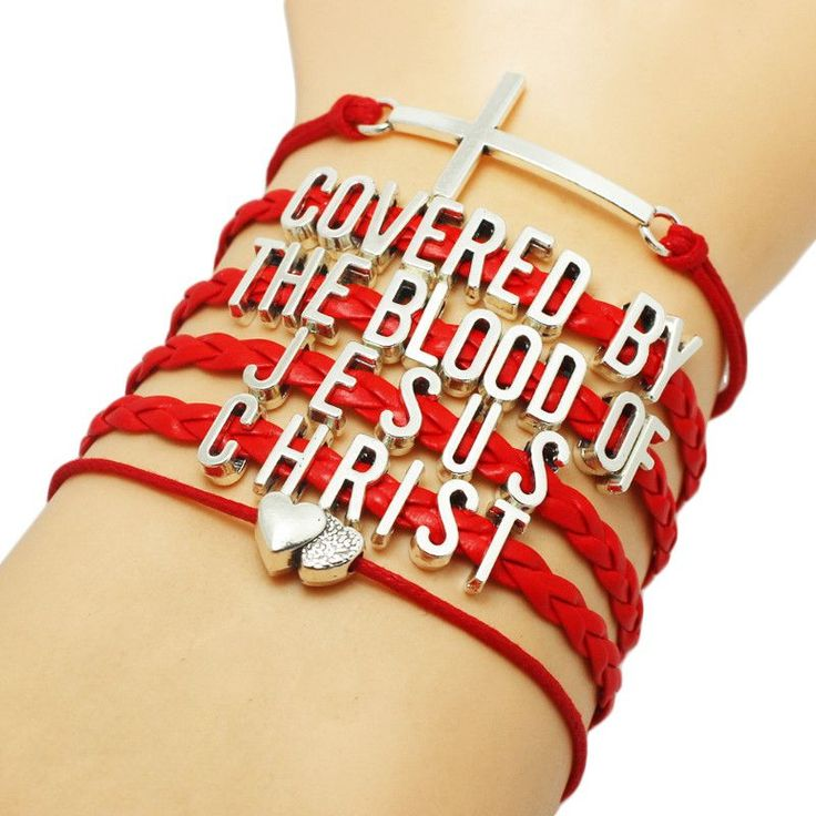 "Beautiful ""Covered By The Blood Of Jesus Christ"" Red Braided Bracelet. You will get the same bracelet as the pictures, and the letter charms are antique silver plated."