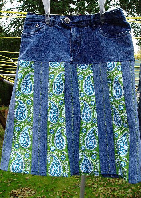 jeans upcycle into skirt, denim stripe detail