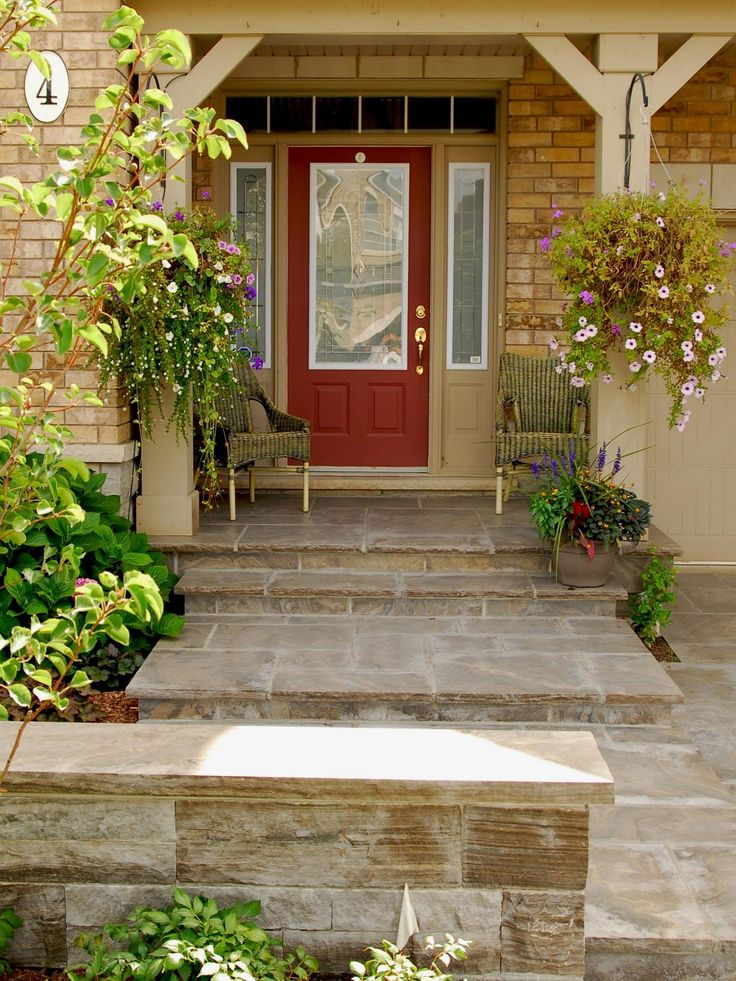 63 best images about front stoop walkway ideas on for Front door stoop ideas