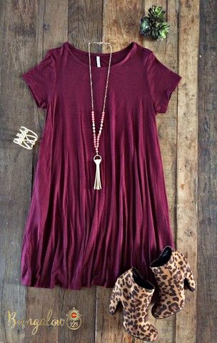 Carolina Dress - Burgundy – Bungalow 123... Minus those cheetah print booties lol
