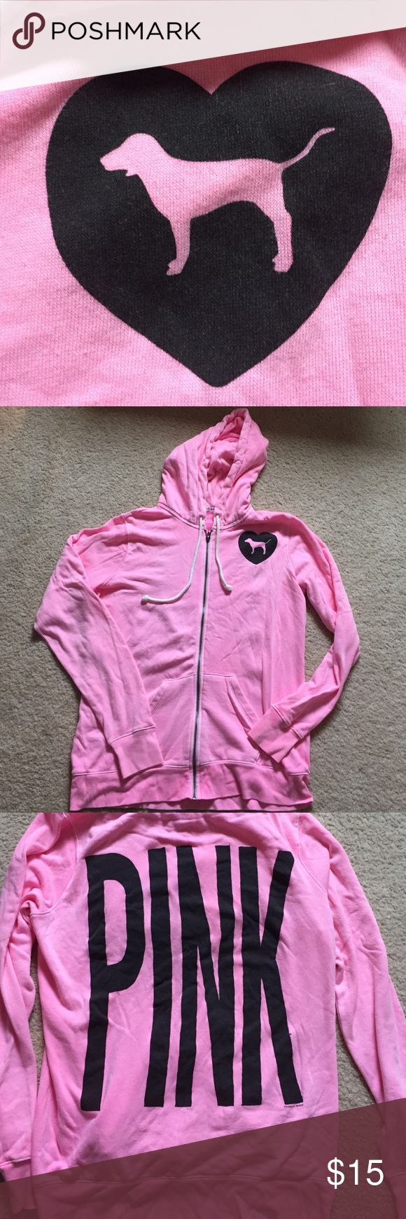 Victoria's Secret Pink zip up hoodie Neon pink, has a distressed/washed out look. Full zip. Pre loved, but in great condition. PINK Victoria's Secret Tops Sweatshirts & Hoodies