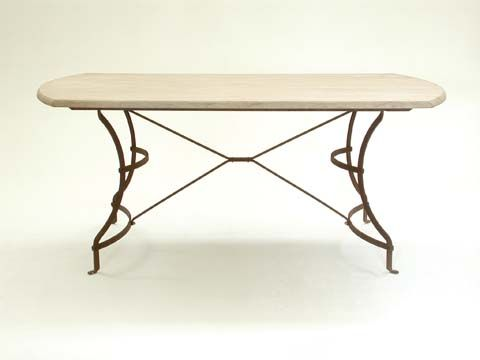 Deluxe Table with Sandstone Top and Rust Finish Base - Inside Out Home Boutique