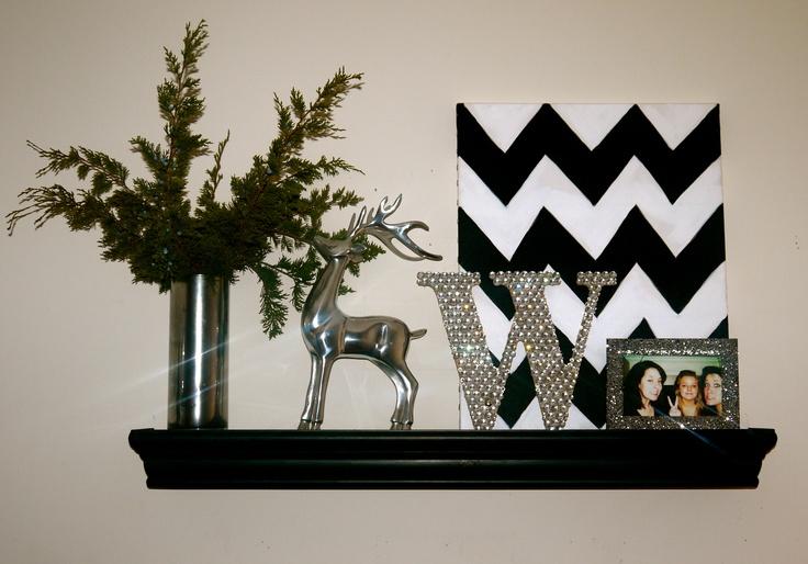 Shelf from Hobby Lobby. DIY monogram, canvas mercury glass vase and frame.