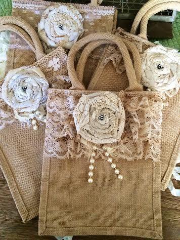 Large Burlap Handled Bag