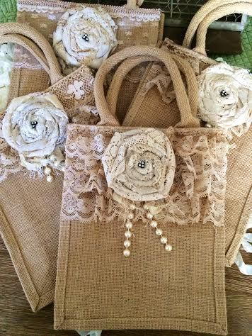 Large Burlap Handled Bag