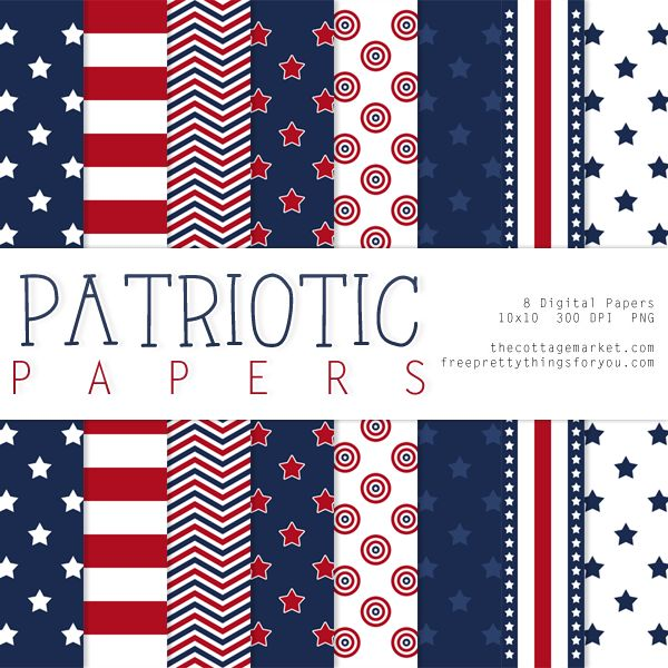 Free Patriotic Digital Paper Pack - The Cottage Market