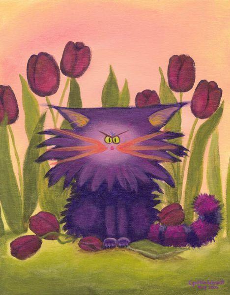 Cranky Cat on Flowers